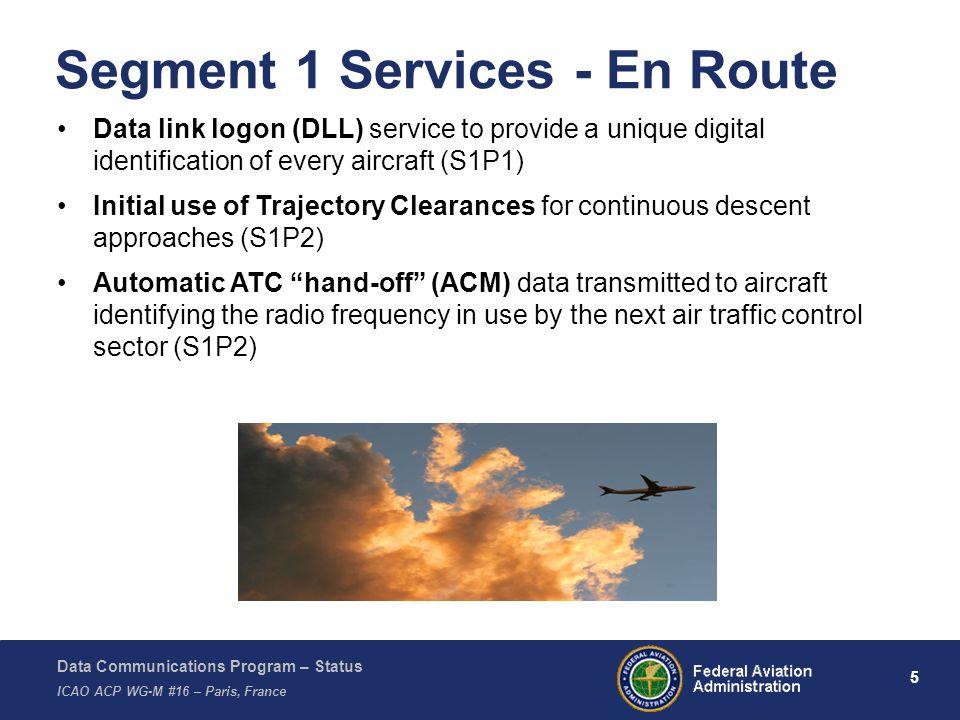 Data Communications Program – Status ICAO ACP WG-M #16 – Paris, France 5 Segment 1 Services - En Route Data link logon (DLL) service to provide a uniq