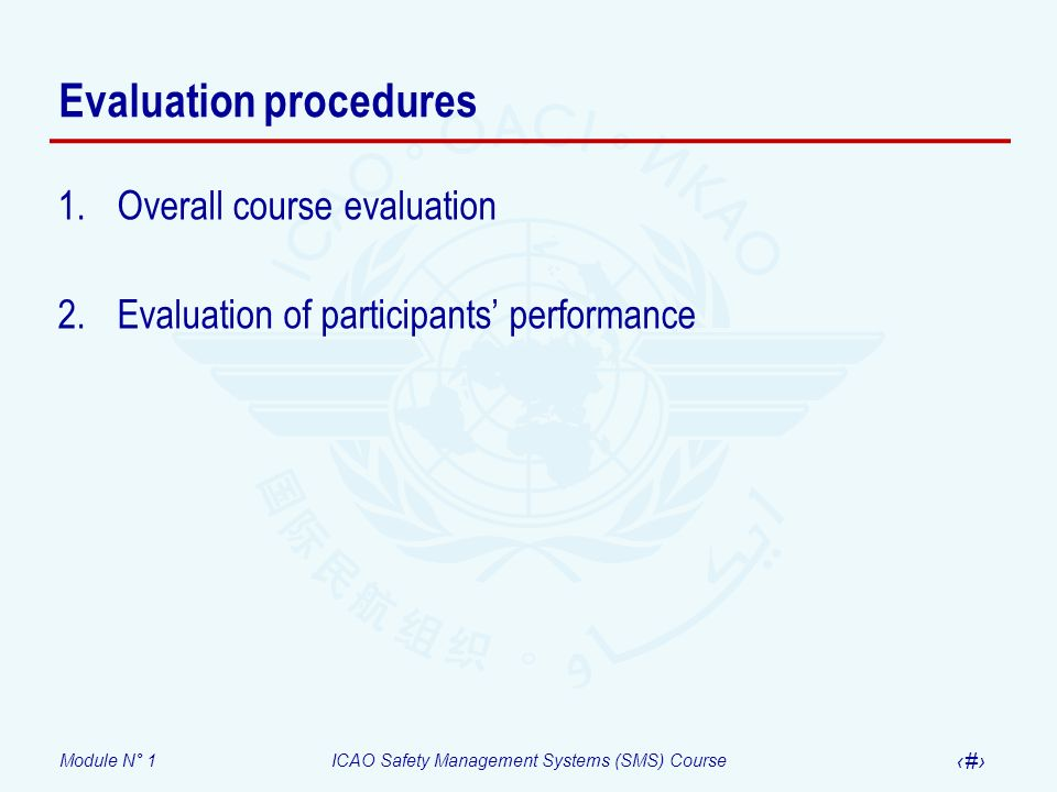 Module N° 1ICAO Safety Management Systems (SMS) Course 18 Evaluation procedures 1.Overall course evaluation 2.Evaluation of participants performance