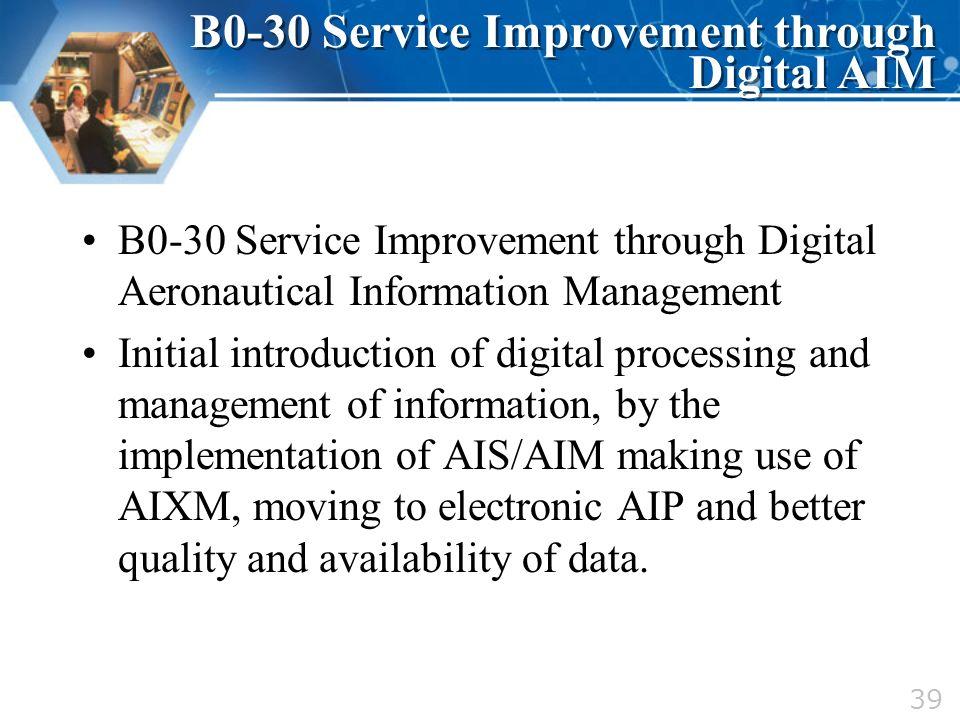 B0-30 Service Improvement through Digital Aeronautical Information Management Initial introduction of digital processing and management of information