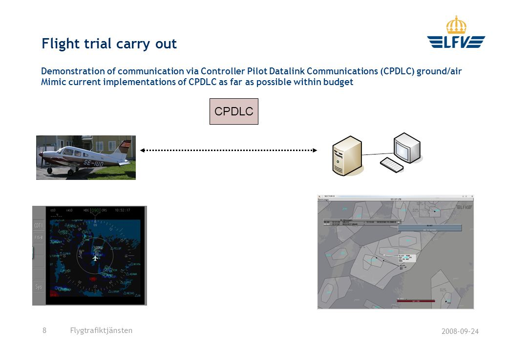 2008-09-24 Flygtrafiktjänsten8 Flight trial carry out Demonstration of communication via Controller Pilot Datalink Communications (CPDLC) ground/air Mimic current implementations of CPDLC as far as possible within budget CPDLC