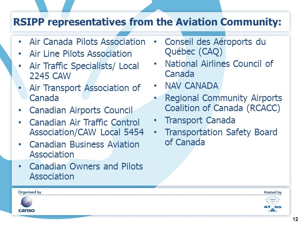 RSIPP representatives from the Aviation Community: Air Canada Pilots Association Air Line Pilots Association Air Traffic Specialists/ Local 2245 CAW Air Transport Association of Canada Canadian Airports Council Canadian Air Traffic Control Association/CAW Local 5454 Canadian Business Aviation Association Canadian Owners and Pilots Association Conseil des Aéroports du Québec (CAQ) National Airlines Council of Canada NAV CANADA Regional Community Airports Coalition of Canada (RCACC) Transport Canada Transportation Safety Board of Canada 12