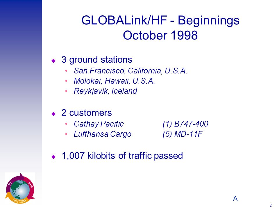 A 2 GLOBALink/HF - Beginnings October 1998 u 3 ground stations San Francisco, California, U.S.A. Molokai, Hawaii, U.S.A. Reykjavik, Iceland u 2 custom