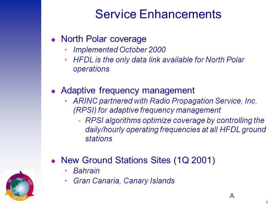A 9 Service Enhancements u North Polar coverage Implemented October 2000 HFDL is the only data link available for North Polar operations u Adaptive fr