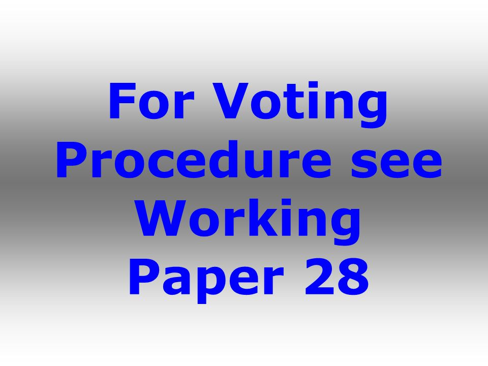For Voting Procedure see Working Paper 28