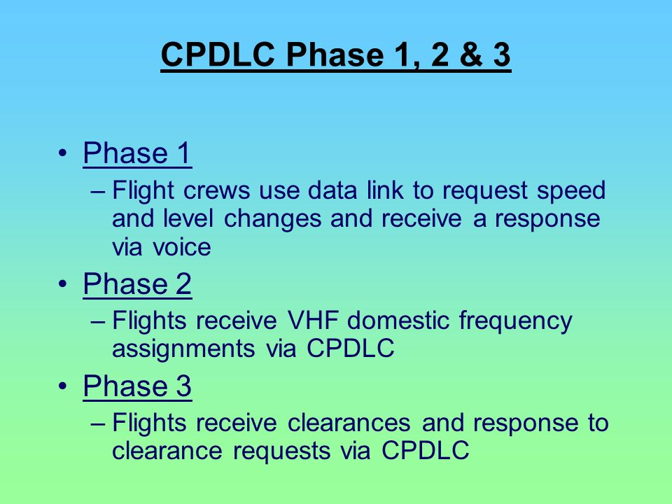 CPDLC Phase 1, 2 & 3 Phase 1 –Flight crews use data link to request speed and level changes and receive a response via voice Phase 2 –Flights receive