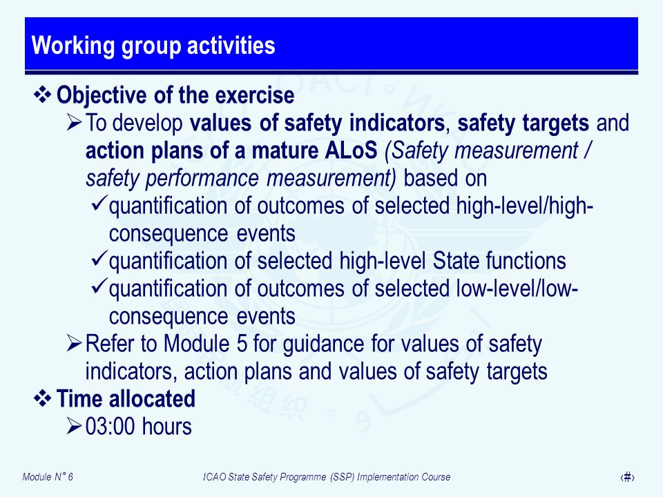 Module N° 6ICAO State Safety Programme (SSP) Implementation Course 35 Objective of the exercise To develop values of safety indicators, safety targets