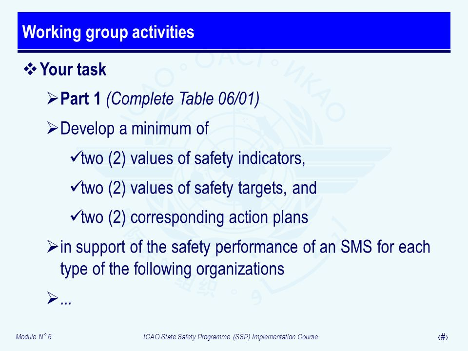 Module N° 6ICAO State Safety Programme (SSP) Implementation Course 36 Your task Part 1 (Complete Table 06/01) Develop a minimum of two (2) values of s