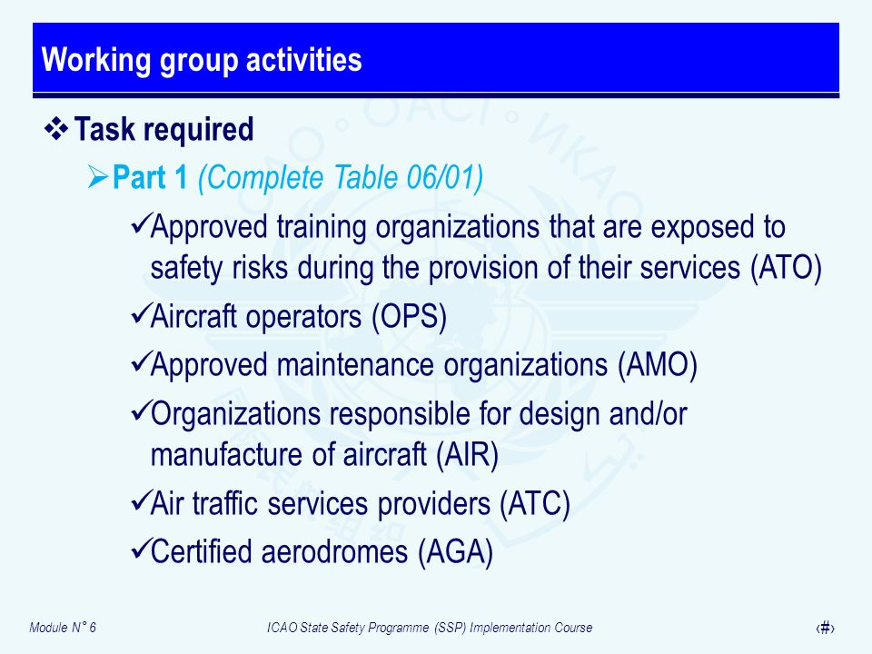 Module N° 6ICAO State Safety Programme (SSP) Implementation Course 37 Task required Part 1 (Complete Table 06/01) Approved training organizations that