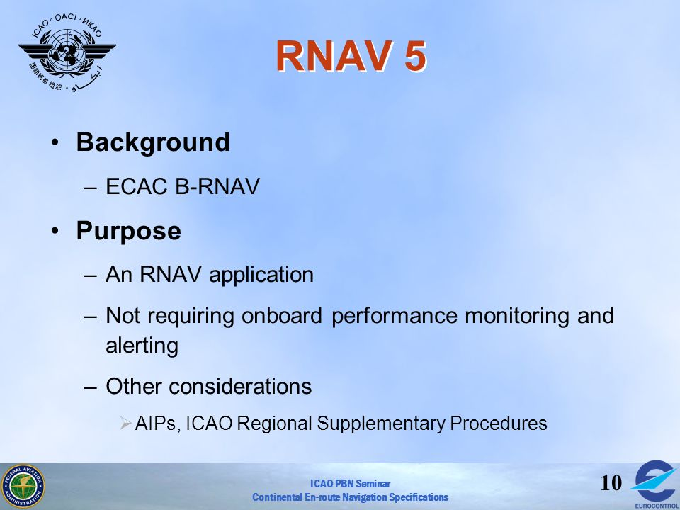 ICAO PBN Seminar Continental En-route Navigation Specifications 10 RNAV 5 Background –ECAC B-RNAV Purpose –An RNAV application –Not requiring onboard