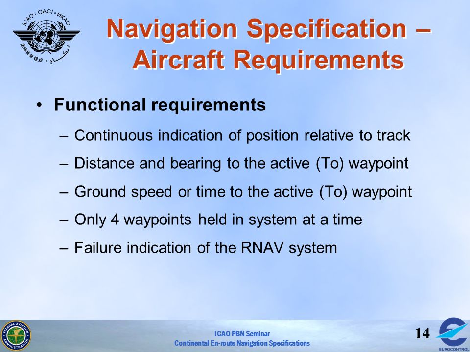 ICAO PBN Seminar Continental En-route Navigation Specifications 14 Navigation Specification – Aircraft Requirements Functional requirements –Continuou