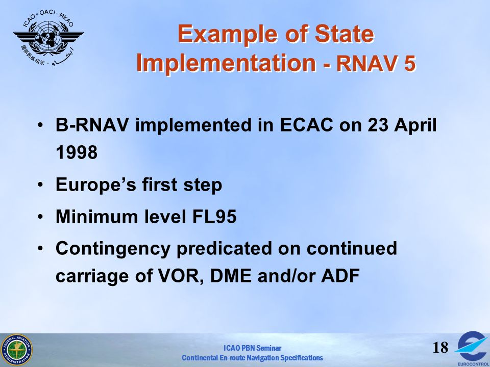ICAO PBN Seminar Continental En-route Navigation Specifications 18 Example of State Implementation - RNAV 5 B-RNAV implemented in ECAC on 23 April 199