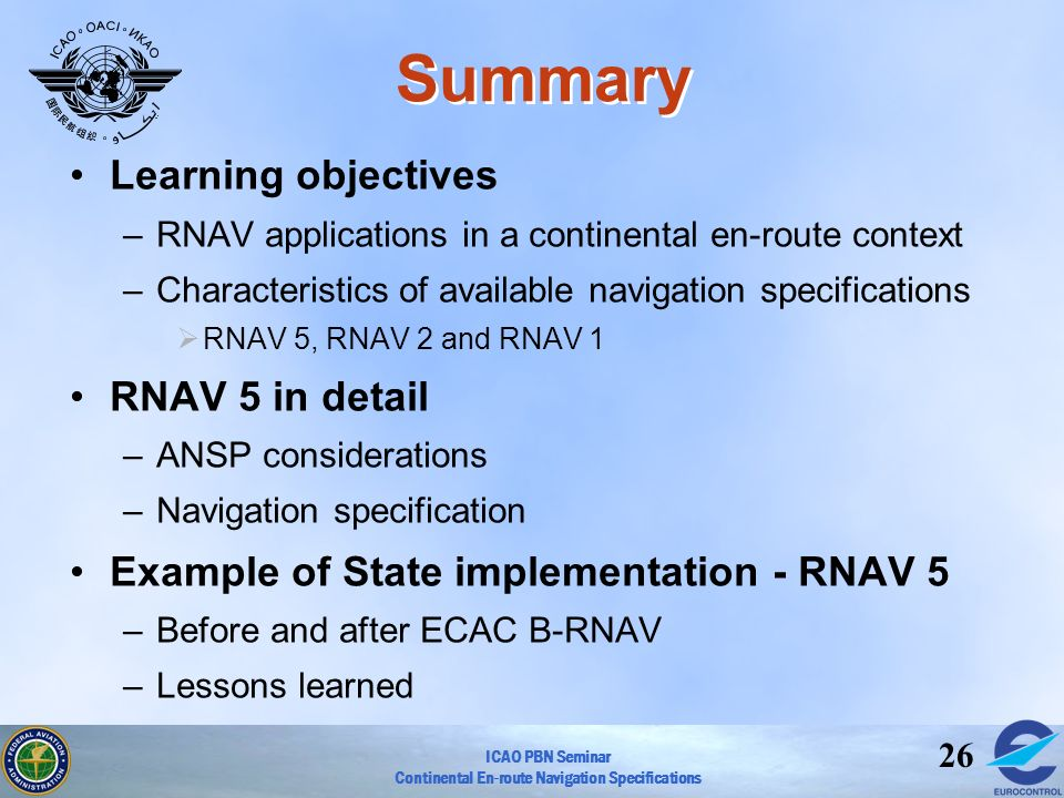 ICAO PBN Seminar Continental En-route Navigation Specifications 26 Summary Learning objectives –RNAV applications in a continental en-route context –C