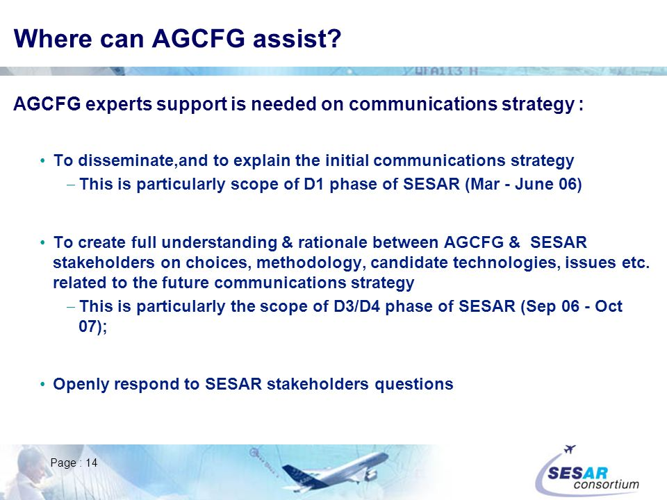Page : 14 Where can AGCFG assist.