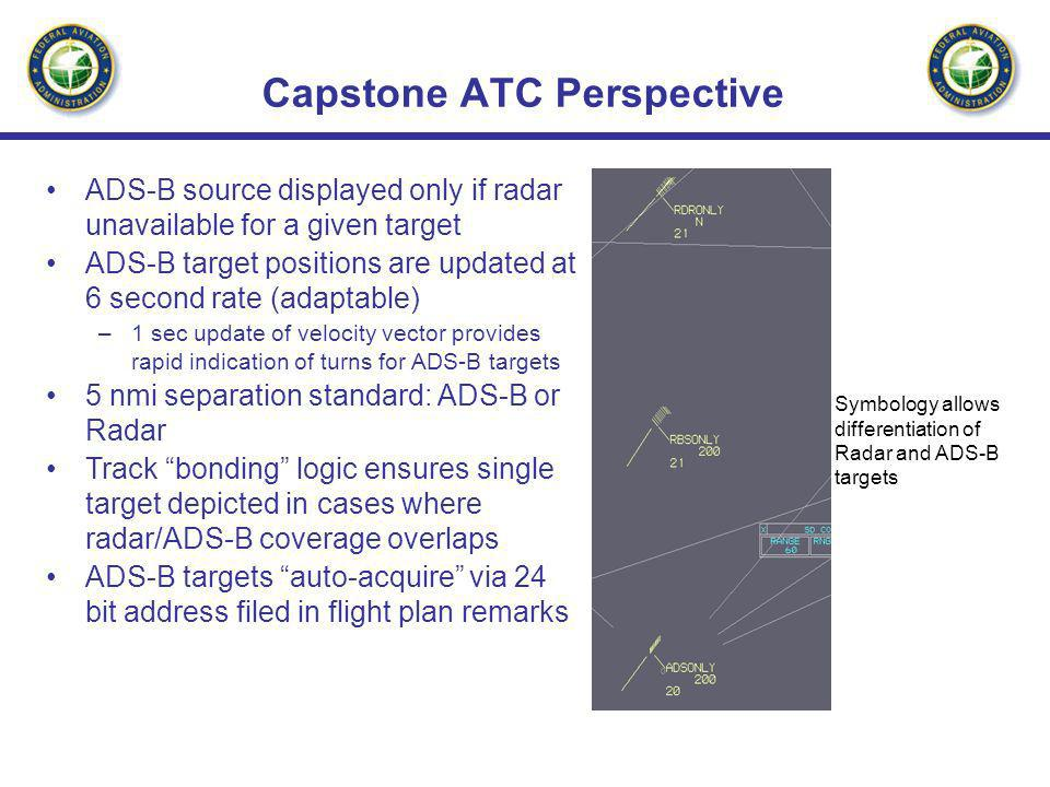 Capstone ATC Perspective ADS-B source displayed only if radar unavailable for a given target ADS-B target positions are updated at 6 second rate (adap