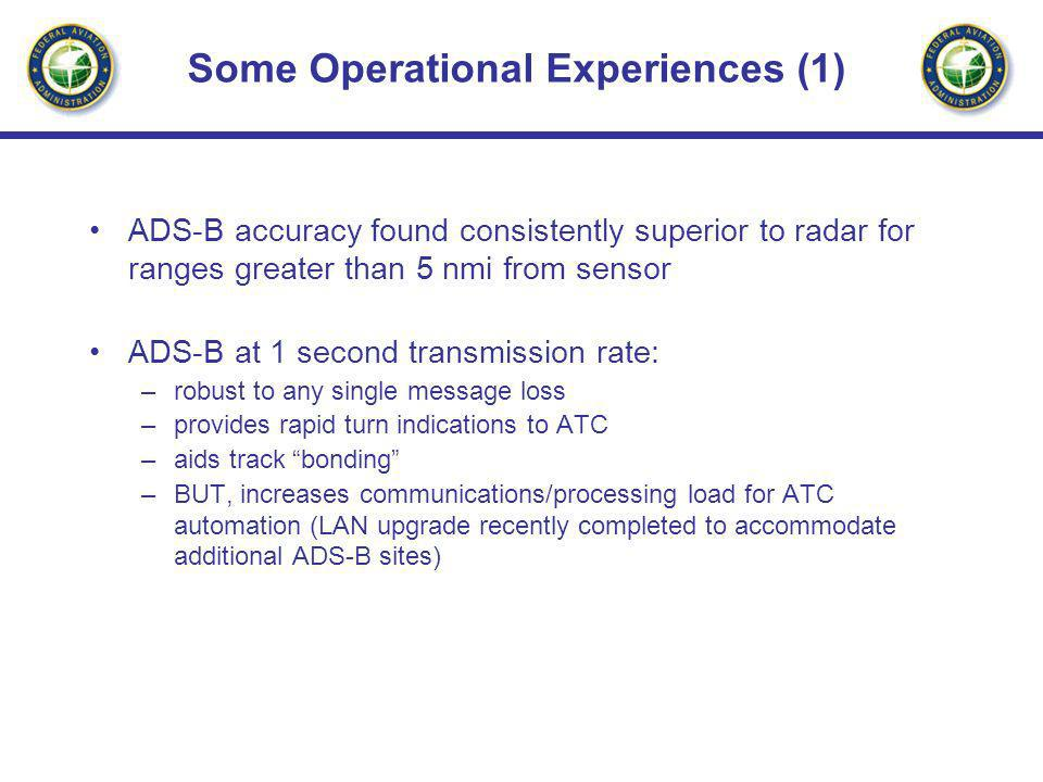 Some Operational Experiences (1) ADS-B accuracy found consistently superior to radar for ranges greater than 5 nmi from sensor ADS-B at 1 second trans