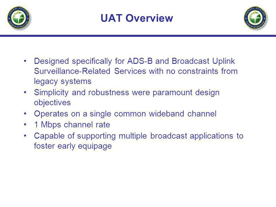 UAT Overview Designed specifically for ADS-B and Broadcast Uplink Surveillance-Related Services with no constraints from legacy systems Simplicity and
