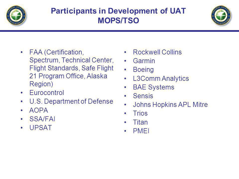 Participants in Development of UAT MOPS/TSO FAA (Certification, Spectrum, Technical Center, Flight Standards, Safe Flight 21 Program Office, Alaska Region) Eurocontrol U.S.