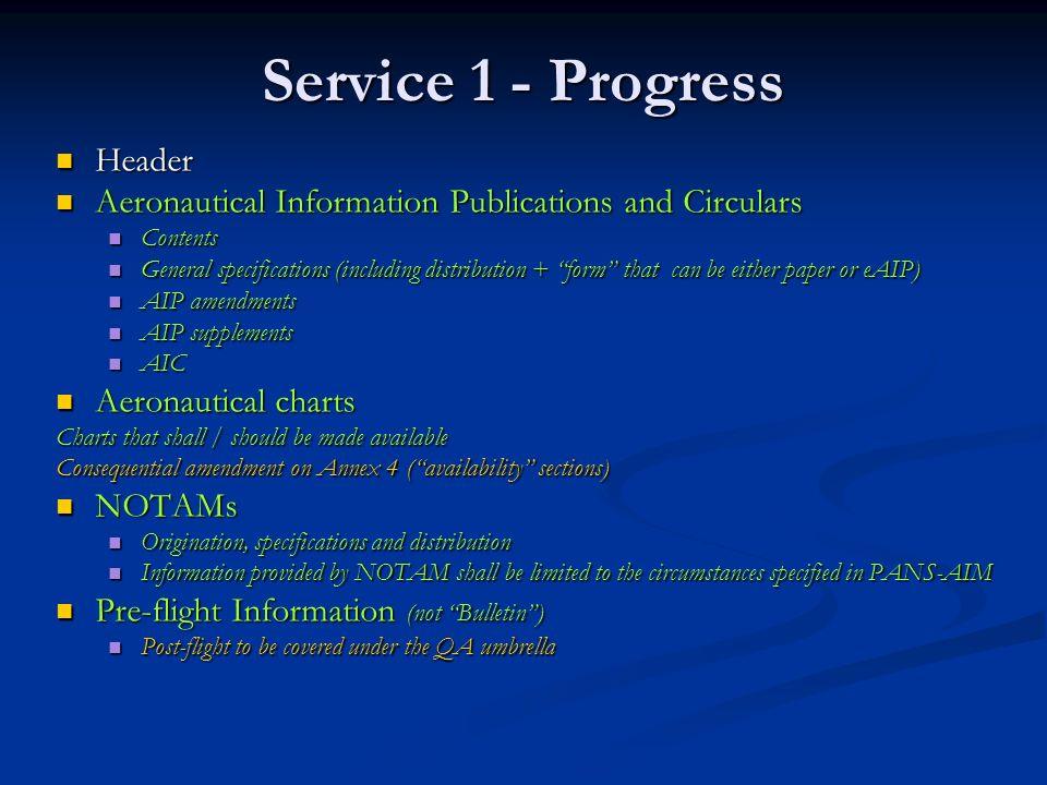 Service 1 - Progress Header Header Aeronautical Information Publications and Circulars Aeronautical Information Publications and Circulars Contents Co