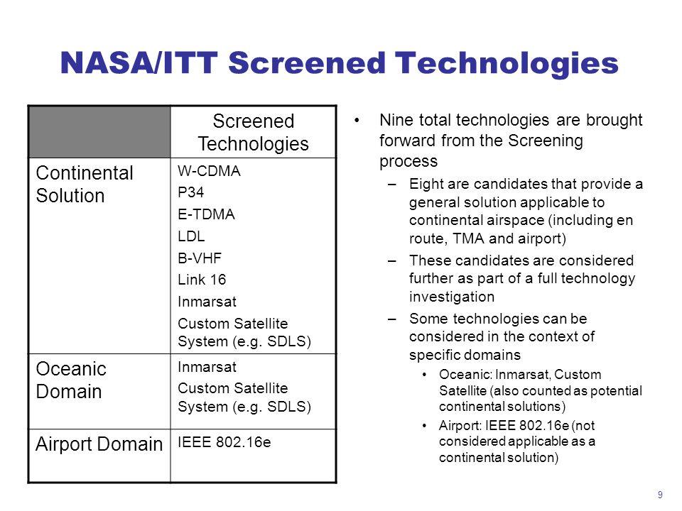 9 NASA/ITT Screened Technologies Screened Technologies Continental Solution W-CDMA P34 E-TDMA LDL B-VHF Link 16 Inmarsat Custom Satellite System (e.g.