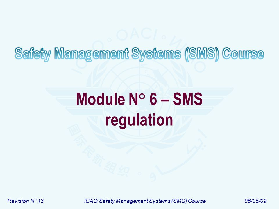 Module N° 6ICAO Safety Management Systems (SMS) Course 12 ALoS – Example Values of safety targets 1.