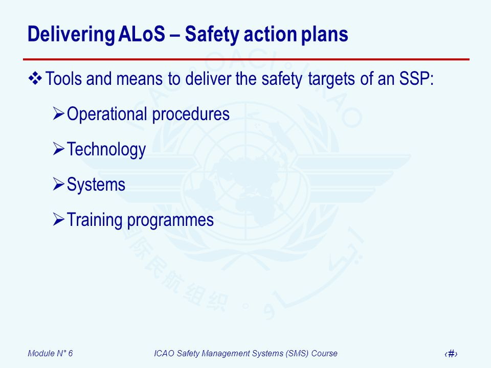 Module N° 6ICAO Safety Management Systems (SMS) Course 11 Delivering ALoS – Safety action plans Tools and means to deliver the safety targets of an SS