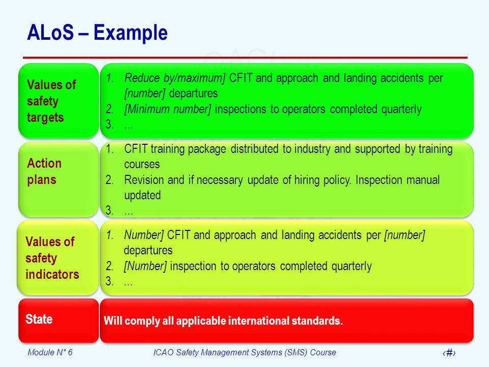 Module N° 6ICAO Safety Management Systems (SMS) Course 12 ALoS – Example Values of safety targets 1. Reduce by/maximum] CFIT and approach and landing