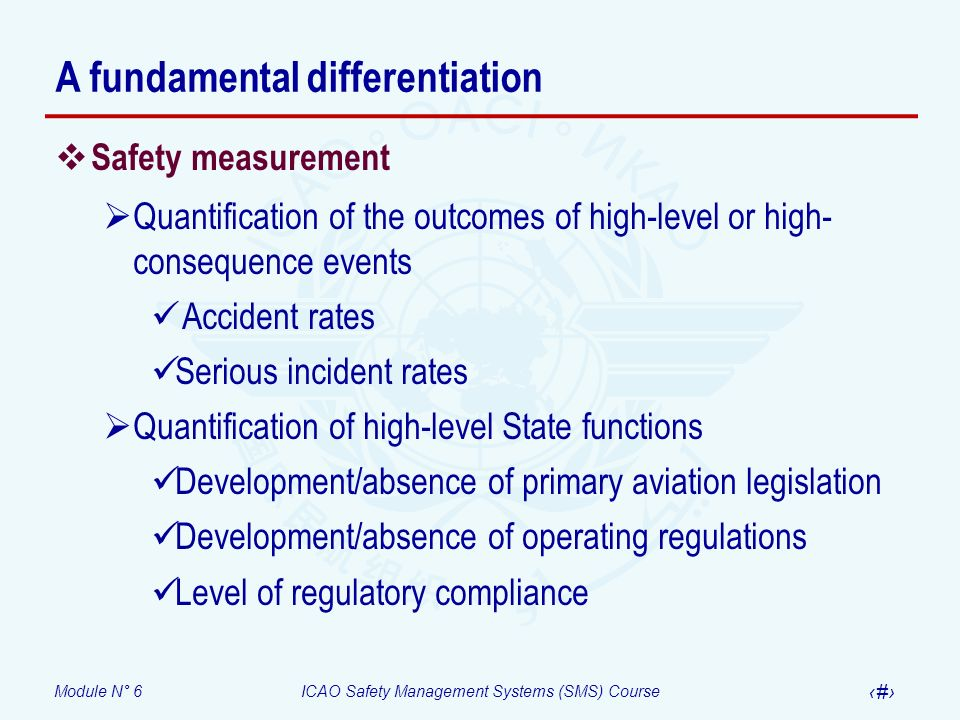 Module N° 6ICAO Safety Management Systems (SMS) Course 14 A fundamental differentiation Safety measurement Quantification of the outcomes of high-leve