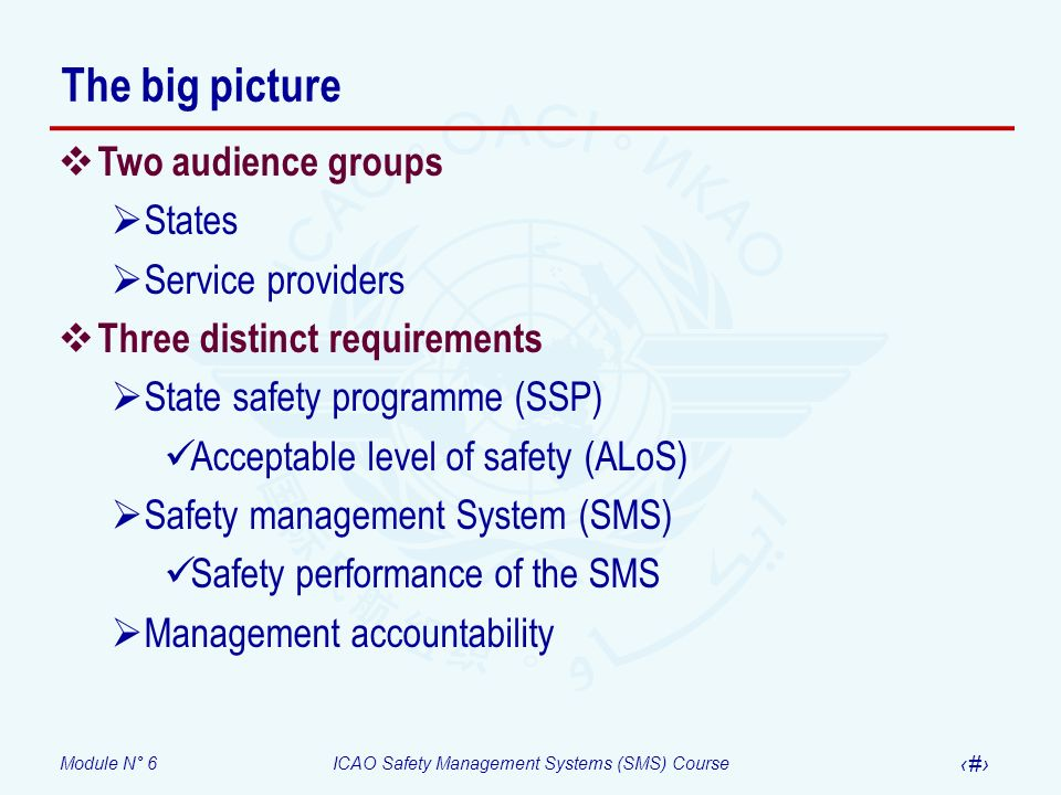 Module N° 6ICAO Safety Management Systems (SMS) Course 5 The big picture Two audience groups States Service providers Three distinct requirements Stat