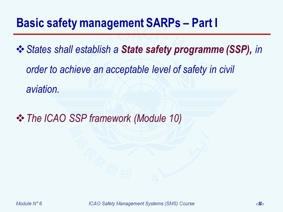 Module N° 6ICAO Safety Management Systems (SMS) Course 27 In summary State Service provider States shall establish a State safety programme (SSP), in order to achieve an acceptable level of safety (ALoS) in civil aviation.