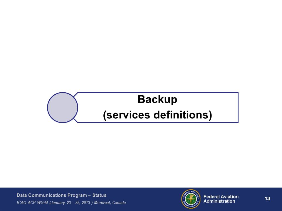Data Communications Program – Status ICAO ACP WG-M (January 23 – 25, 2013 ) Montreal, Canada 13 Backup (services definitions) 13