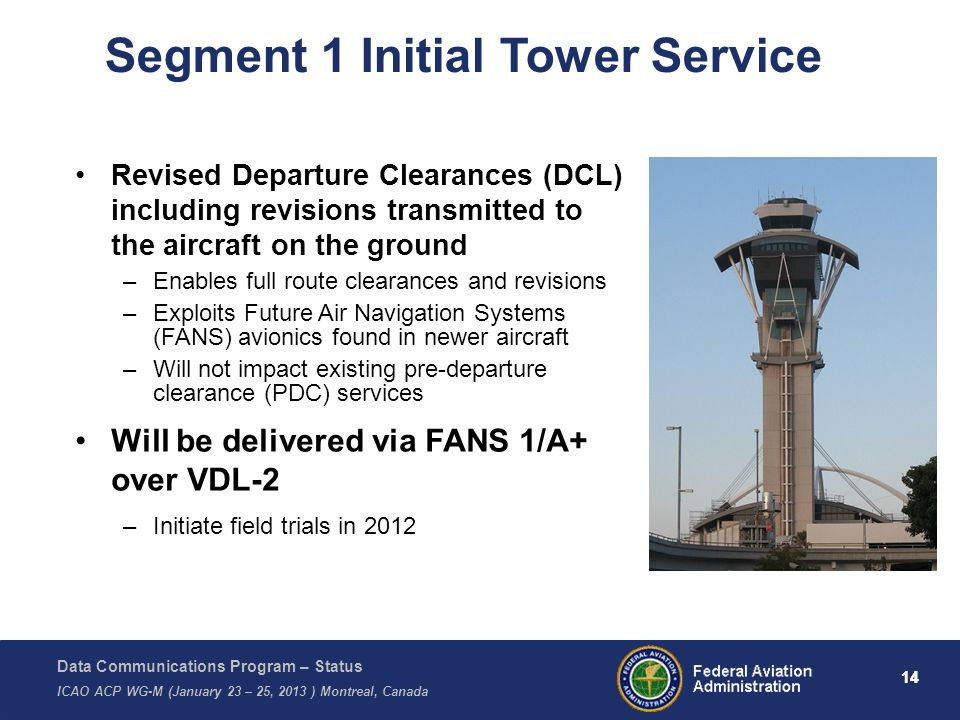 Data Communications Program – Status ICAO ACP WG-M (January 23 – 25, 2013 ) Montreal, Canada 14 Segment 1 Initial Tower Service Revised Departure Clea