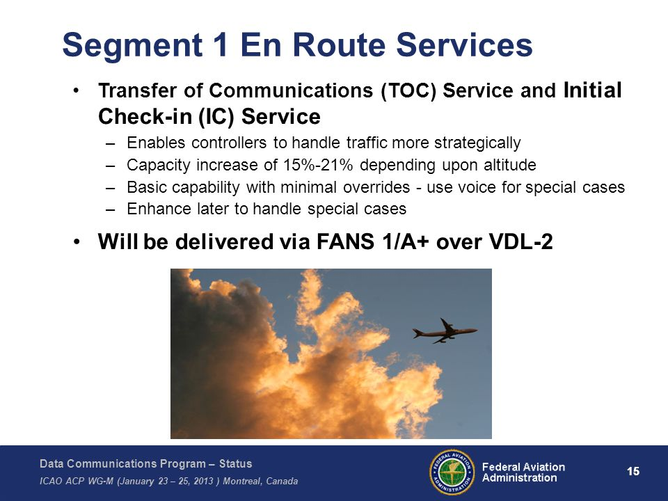 Data Communications Program – Status ICAO ACP WG-M (January 23 – 25, 2013 ) Montreal, Canada 15 Transfer of Communications (TOC) Service and Initial C