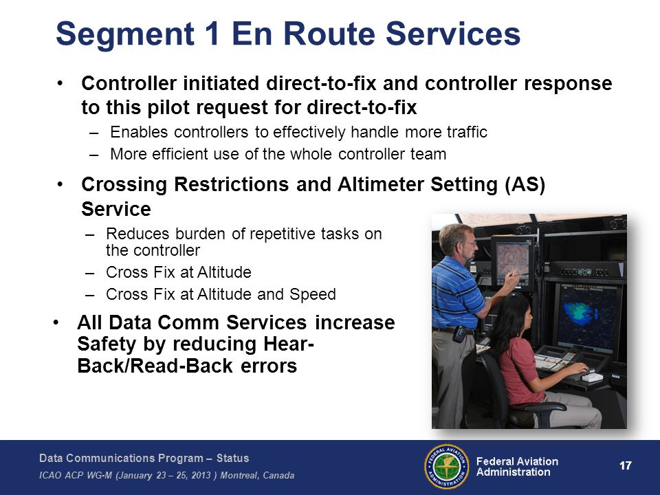 Data Communications Program – Status ICAO ACP WG-M (January 23 – 25, 2013 ) Montreal, Canada 17 Segment 1 En Route Services Controller initiated direc