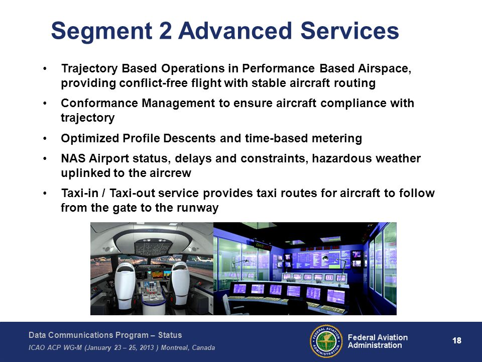 Data Communications Program – Status ICAO ACP WG-M (January 23 – 25, 2013 ) Montreal, Canada 18 Segment 2 Advanced Services Trajectory Based Operation