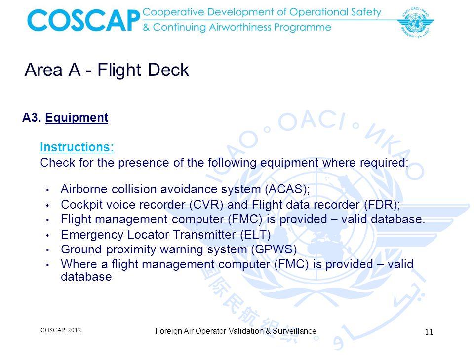 11 Area A - Flight Deck Foreign Air Operator Validation & Surveillance A3.