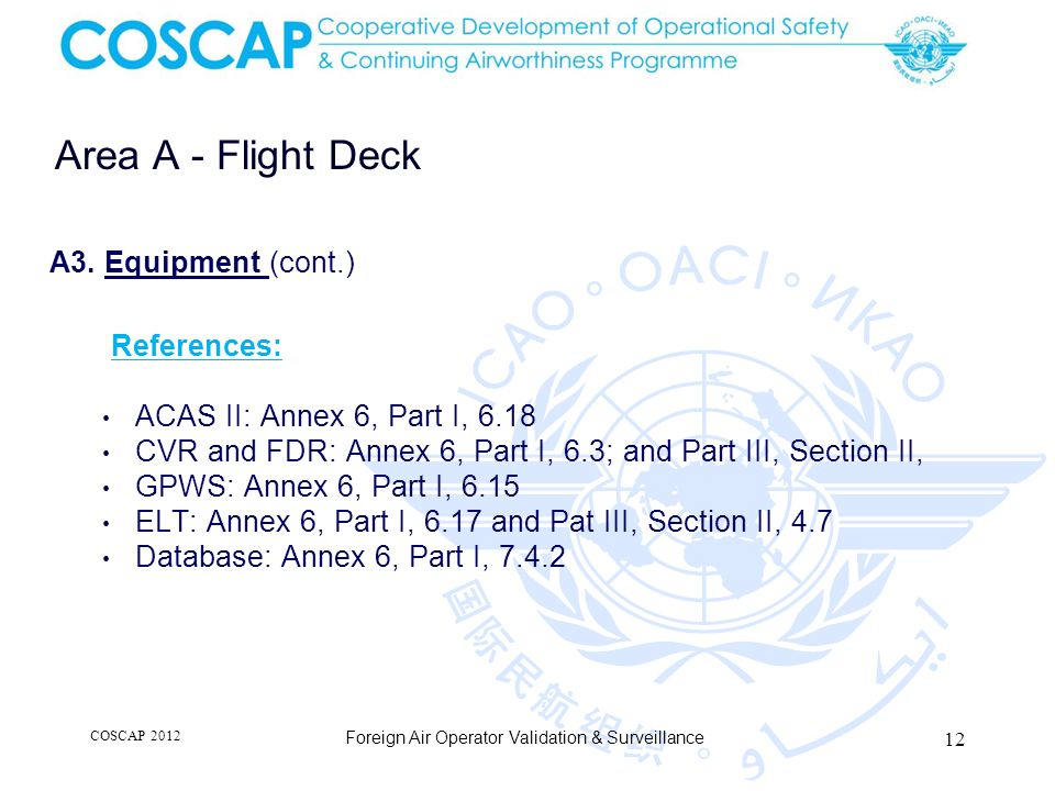 12 Area A - Flight Deck Foreign Air Operator Validation & Surveillance A3. Equipment (cont.) References: ACAS II: Annex 6, Part I, 6.18 CVR and FDR: A