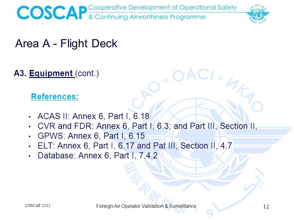 12 Area A - Flight Deck Foreign Air Operator Validation & Surveillance A3.