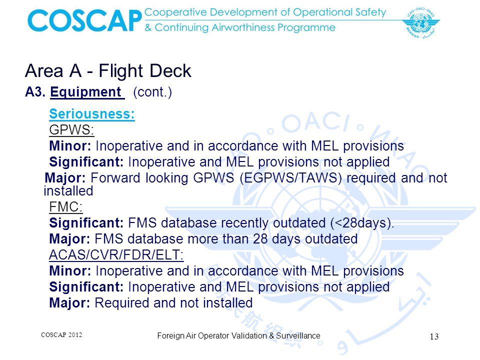 13 Area A - Flight Deck Foreign Air Operator Validation & Surveillance A3.