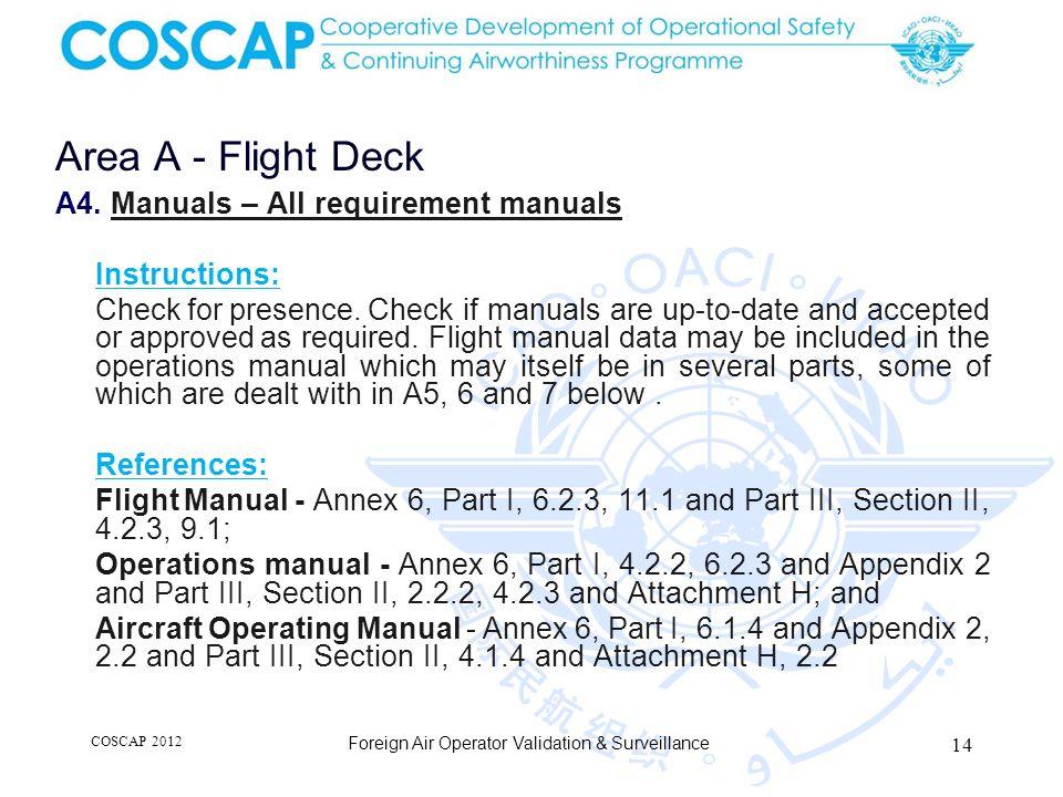 14 Area A - Flight Deck Foreign Air Operator Validation & Surveillance A4.