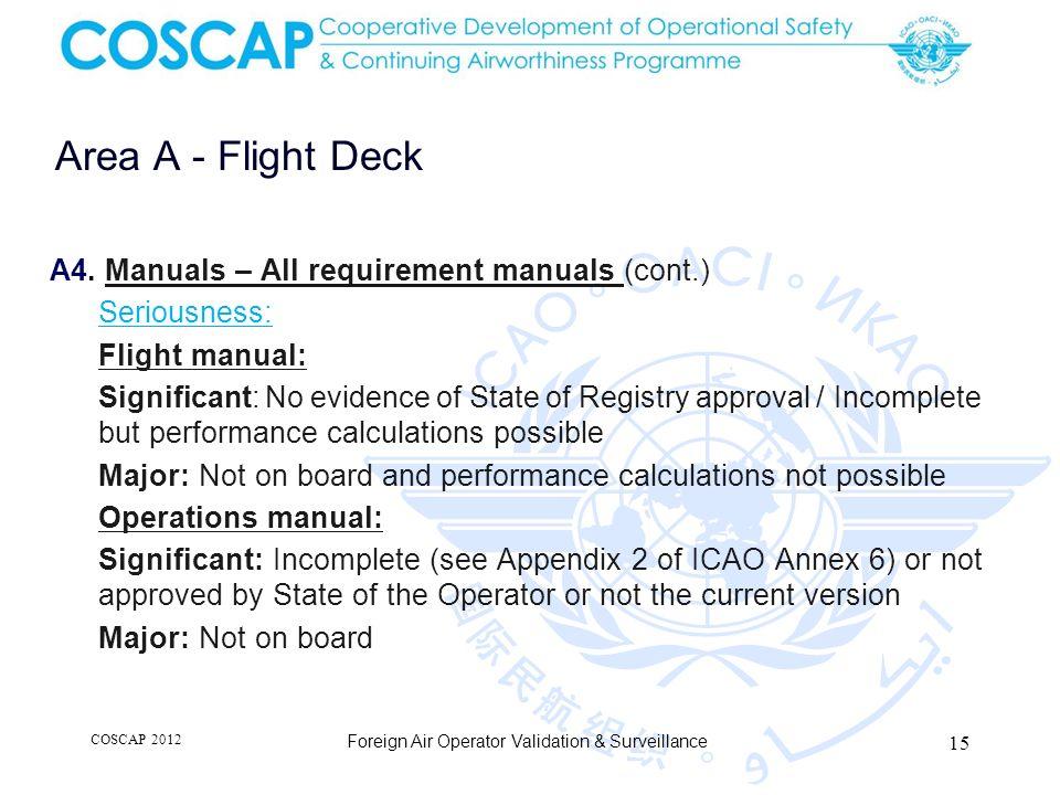 15 Area A - Flight Deck Foreign Air Operator Validation & Surveillance A4.
