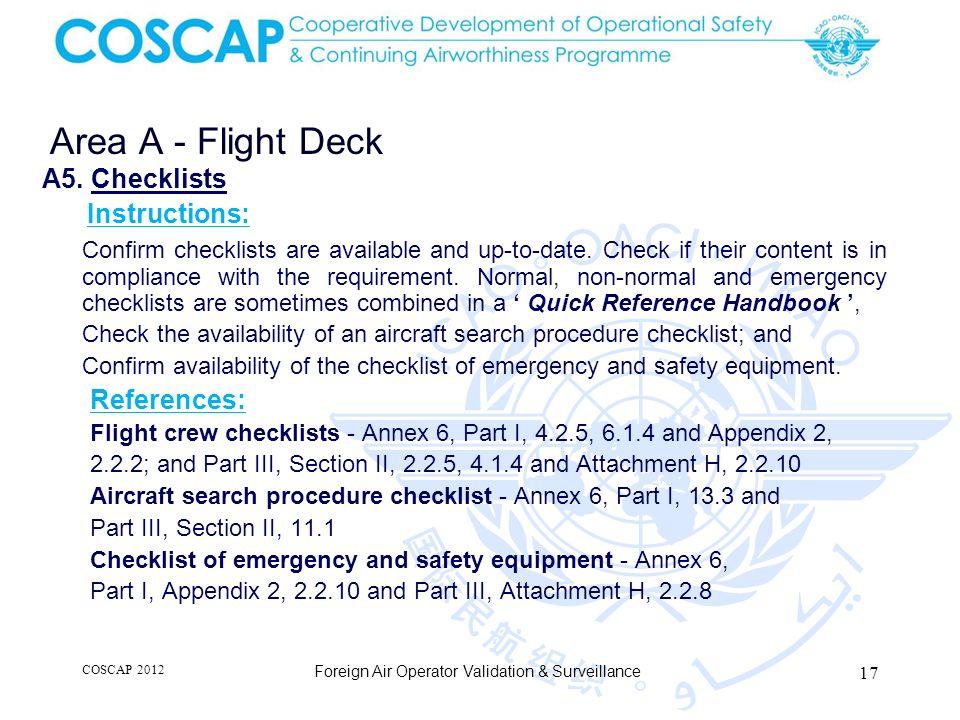 17 Area A - Flight Deck Foreign Air Operator Validation & Surveillance A5.
