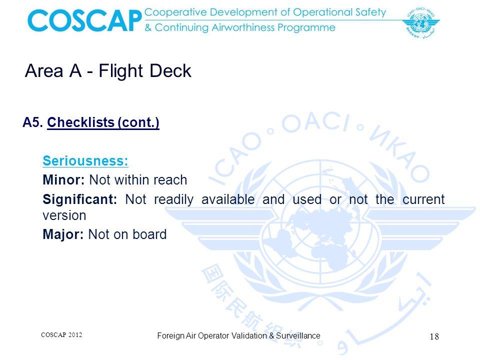 18 Area A - Flight Deck Foreign Air Operator Validation & Surveillance A5.