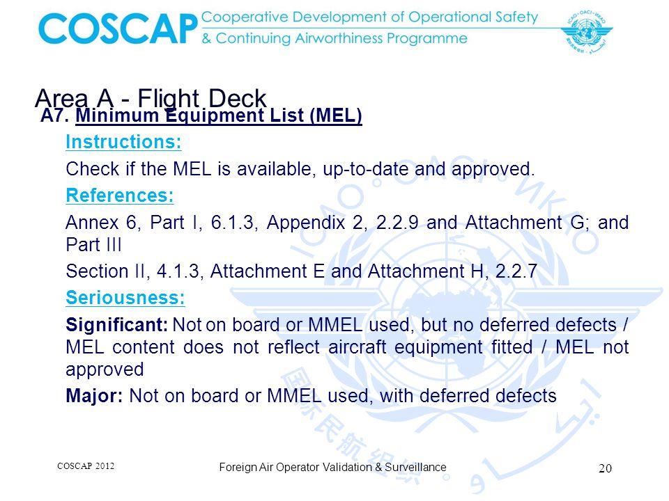 20 Area A - Flight Deck Foreign Air Operator Validation & Surveillance A7.