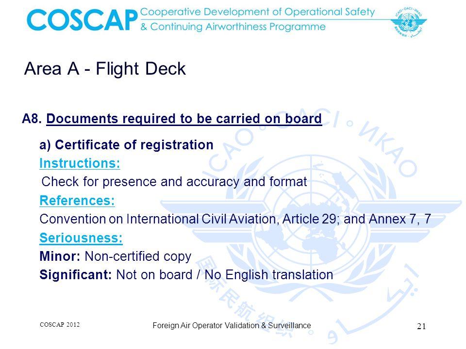 21 Area A - Flight Deck Foreign Air Operator Validation & Surveillance A8.