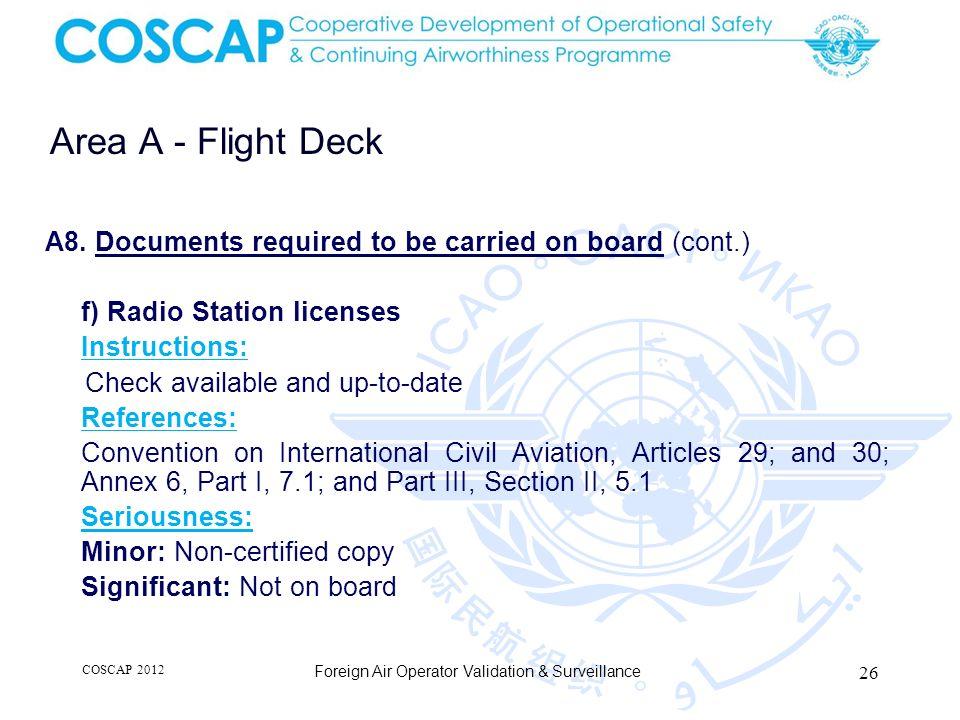 26 Area A - Flight Deck Foreign Air Operator Validation & Surveillance A8.