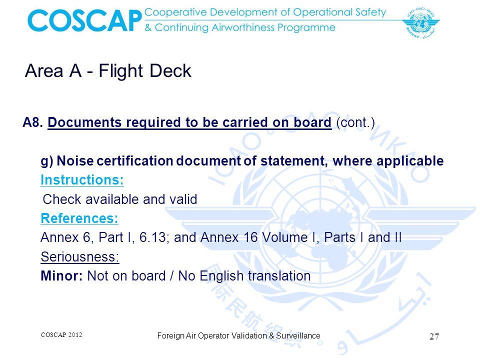 27 Area A - Flight Deck Foreign Air Operator Validation & Surveillance A8.