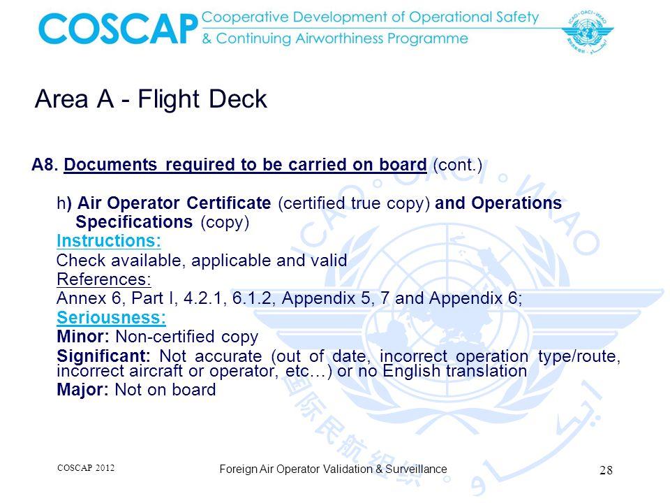 28 Area A - Flight Deck Foreign Air Operator Validation & Surveillance A8.