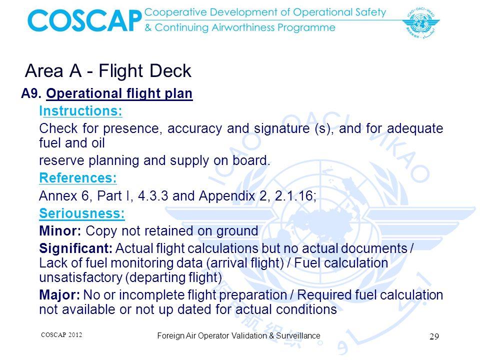 29 Area A - Flight Deck Foreign Air Operator Validation & Surveillance A9.