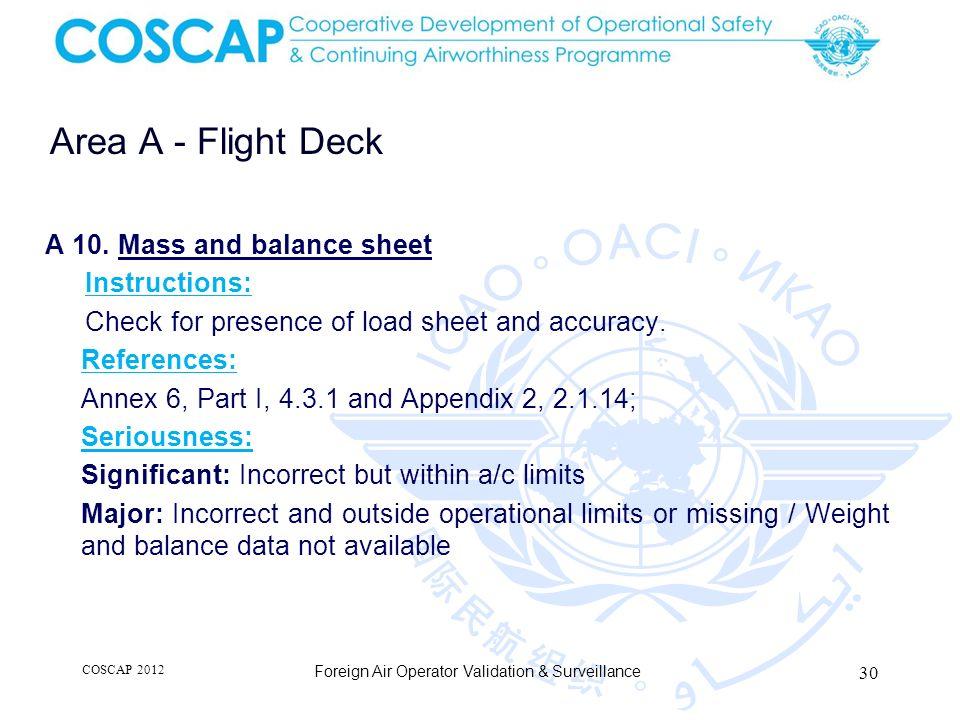 30 Area A - Flight Deck Foreign Air Operator Validation & Surveillance A 10.