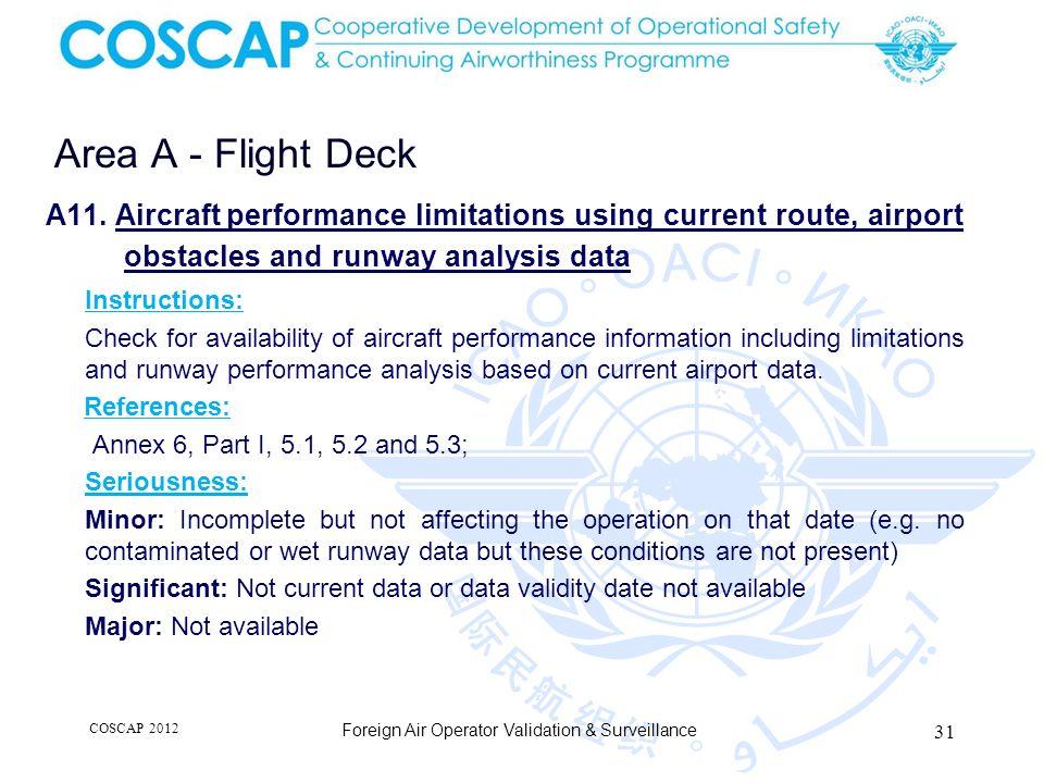 31 Area A - Flight Deck Foreign Air Operator Validation & Surveillance A11.